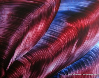 5X7 Red & Blue Waterfall. Encaustic (Wax) Abstract Original Painting. Beeswax Painting. SFA (Small Format Art0