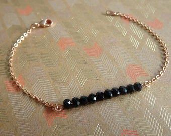 Rose gold bracelet - golden chain with fine gold, with black beads