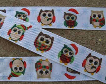 "Winter Owl Printed Ribbon 7/8"" 3 yards Grosgrain Ribbon Hair Bow Ribbon Christmas Owl"