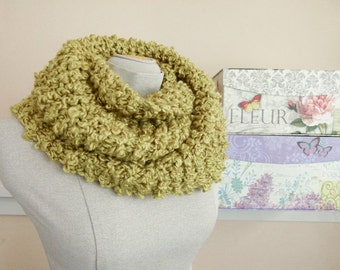 Warm Vegan Cowl, Chunky Hand Knit Infinity Scarf in Golden Green - Item 1289b