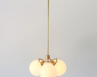 Brass Chandelier, Globe Pendant Lamp, Modern Industrial Hanging Lighting Fixture, 3 White Glass Globes, Free Shipping