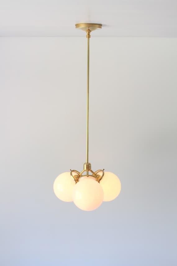 Brass chandelier globe pendant lamp modern industrial