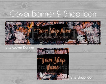 Autumn Shop Banners, Etsy Cover Photo, Cover Banner, Leaf Shop Banner, Fall Etsy Banner, Store Banner, Thanksgiving, Oak Leaf, Forest