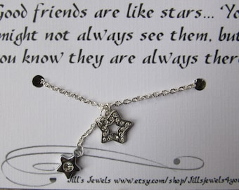Best Friend  Necklace - Long Distance Friendship Necklace - Best Friend Gift - Rhinestone Star Necklace - Friends Forever - Gradation Gift