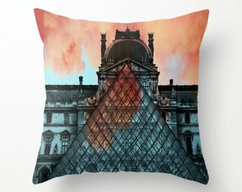 """Paris Louvre with Clouds on Fire - 18"""" Throw Pillow Cover w/ Dusty Blue Tassel - Blue, Orange, Black and White - Home Decor - Hostess Gift"""