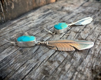 Navajo Earrings Silver Feather Turquoise Earrings Long Dangles, Native American Jewelry, Turquoise Jewelry, Mother's Day Gift for Girlfriend
