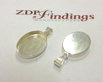 2pcs x Oval 25x18mm Bezel Setting with Bail, Sterling Silver 925 (POV2518)