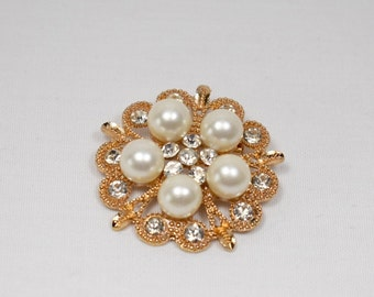 Gold tone Pearl & Rhinestone Brooch, Sash Brooch, Bridal Brooch, Bouquet Brooches, Crystal Wedding Brooch, Gold Brooches Wedding