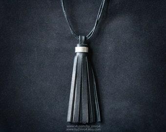 Woman Leather Tassel Pendant, Black Tassel Choker, Tassel Jewelry, Simple Tassel Necklace, Tassel Pendant, Black White Brown Tassel