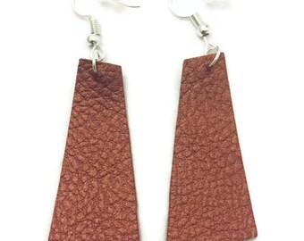 Faux Leather Earrings, Copper Faux Leather Earrings, Dangle Leather Earrings, Rectangular Drop Leather Earring, 2 inch Leather Earrings