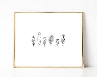 Feather Illustration Print, PRINTABLE Nursery Art, Instant Download Print, Printable Wall Art, Line Drawing Print, Modern Art, Home Decore
