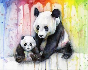 Pandas Watercolor Rainbow, Panda Art, Art Print, Whimsical Animals, Panda Nursery, Baby Animal, Colorful Painting, Animal Illustration