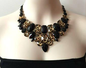 leopard bib necklace, black and leopard bib collar necklace