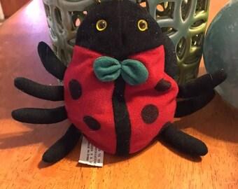 Ladybug Plush With Green Bow