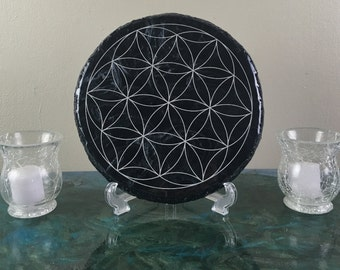 Flower of Life Epoxy Resin Plaque Wall Art, Gift Ideas, Resin Art, Crystal Grid