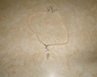 vintage necklace faux pearls drop rhinestones silvertone