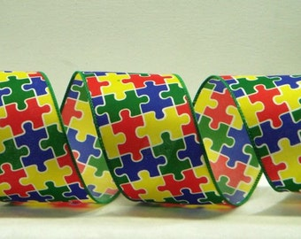 Wired Ribbon ~ 2.5 inch  Puzzle Ribbon ~ Red, Yellow, Green & Blue Puzzle Pieces ~ Autism Awareness Ribbon ~ 3 Yards