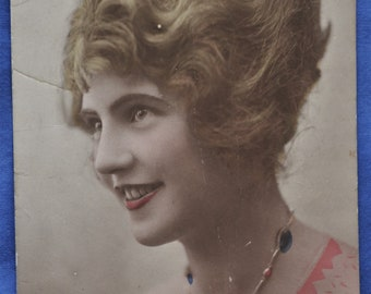 RPPC Woman French Orange Dress Writing Antique Postcard