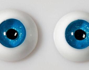 READY to SHIP! 14/8mm handmade urethane resin BJD blue metallic fantasy eyes