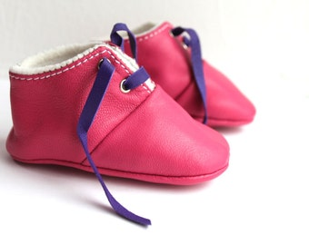 SALES 6-12 Months Slippers / Baby Shoes Lamb Leather OwO SHOES Pink Purple