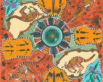 Australian Fabric - Kangaroo Fabric - Aboriginal Fabric - Mirram Mirram Aka Red by Nambooka - Priced by the half yard