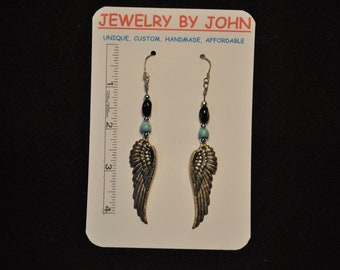 Large Silver Colored Angle Wings with Silver, Turquoise, and Black Beads on Ear Wires