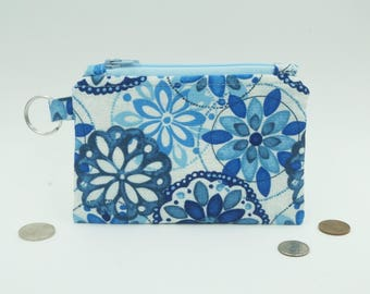 Blue Change Purse, Small Floral Wallet, Blue Lanyard Wallet, Zip Pouch