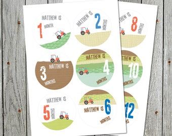 Personalised Baby Month Tractor Milestone Stickers