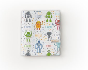 READY TO SHIP Robot Organic Blanket / Baby Boy Blanket / Swaddle Blanket / Toddler Blanket – Robot Blanket