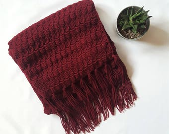 wine crochet scarf, wine scarf, winter scarf, fringed scarf, winter wear, scarf, scarfs, scarf knit, scarf women, winter scarf wool