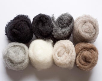 Needle Felting Wool Assortment, Fiber Sampler, Batting, Neutrals, Black, White, Gray, Brown, Beige, Wet Felting, Spinning, Supplies