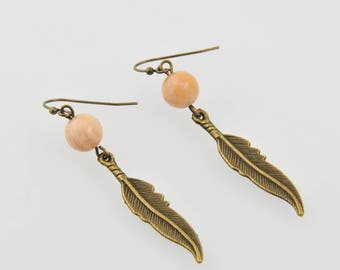 "Bronze earrings ""Moonstone and feather"""