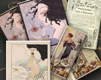 Art Deco Illustrations Digital Collage Sheet, Cosmetics Advertisements