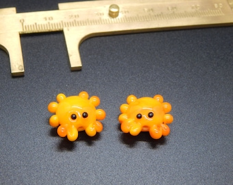 Crab pair,  Lampwork Bead Pair, Simply Lampwork by Nancy Gant, SRA G5