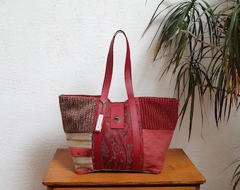 Red mix of TEXTILES and leather tote