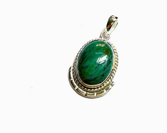 Chrysocolla pendant etsy chrysocolla pendant sterling silver 925 48 carat 173 inch high polishing natural mozeypictures Images