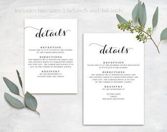 Wedding Details Card, Printable Details Card Template, Simple Details Card, Information Card, D01