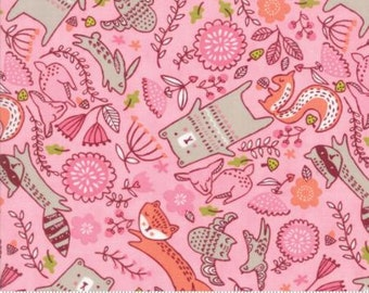 Fabric by the Yard - Just Another Walk in the Woods-Forest Furries in Pink- by Stacy Iest Hsu for Moda