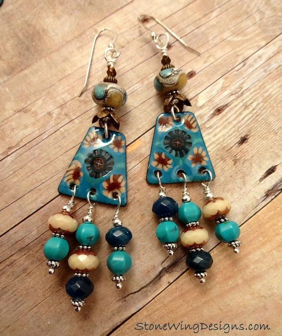 Boho Turquoise, Artisan Enamel and Lamp Glass Earrings