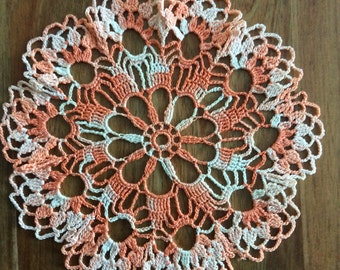 Orange doily, openwork crochet doily, table decoration, home decor, Christmas gift, lace doily, Mother's Day gift, housewarming gift
