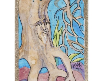 Tree Spirit, watercolor painting, original, ACEO Original, miniature Painting, Tiny painting, Nature painting, tiny watercolor, fantasy
