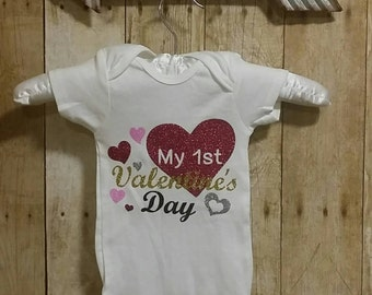 Personalized Custom,Glitter My First Valentine's Day Onesie, Valentine's Onesie. Baby Girl Valentine Outfit. Glitter Shirt. Valentine's Day.