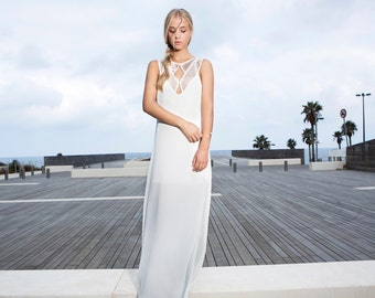 Now on Sale!  White Geometric Maxi dress, Wedding dress, Bridal dress, Diamonds shapes at cleavage, Maxi dress, Wedding dress.
