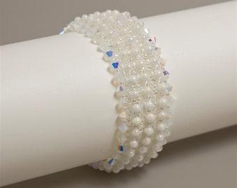 Bridal White Cuff Bracelet with Swarovski Crystals and Sterling Silver Slide Clasp. Textured Beaded Bracelet. Evening Wedding Bracelet. S243