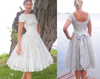50s Dress, 1950s Prom Dress, Pale Blue Lace Party Dress, Vintage Bridesmaid Dress, 50s Circle Skirt Dress XS