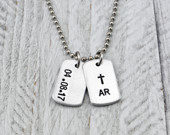First Communion Gift for Boys - Confirmation Gift - Cross Necklace for Boy -Easter Gift - Baptism Gift - Cross Jewelry - Boys Dog Tags