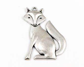 1 large fox charm , silver metal , 50mm # CH 350