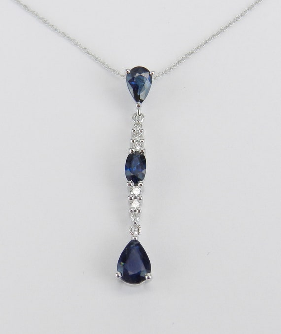 """White Gold 1.40 ct Sapphire and Diamond Drop Pendant Wedding Necklace 18"""" Chain September Birthstone"""