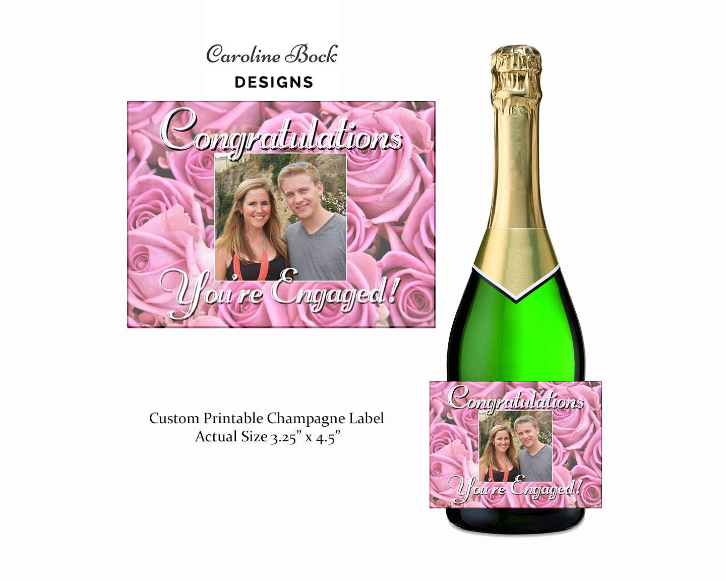 Newly Engaged Champagne Label Gift for Engagement