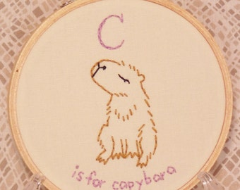 C is for Capybara Embroidery Hoop Art - Baby C Name - C Initial Gift - Nursery Decor - Baby Shower Gift